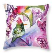 Watercolor - Frilled Coquette Hummingbird With Colorful Background Throw Pillow