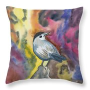 Watercolor - Gray Catbird Throw Pillow