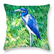 Watercolor Heron In Grass Throw Pillow