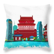 Watercolor Illustration Of Beijing Throw Pillow