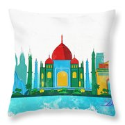 Watercolor Illustration Of Delhi Throw Pillow