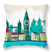 Watercolor Illustration Of London Throw Pillow