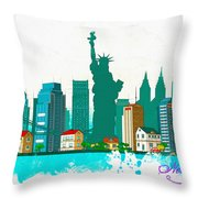 Watercolor Illustration Of New York Throw Pillow