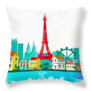 Watercolor Illustration Of Paris Throw Pillow