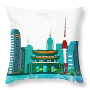 Watercolor Illustration Of Seoul Throw Pillow