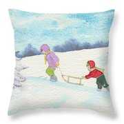 Watercolor Illustration Showing Two Children Pulling Sledge Uphi Throw Pillow