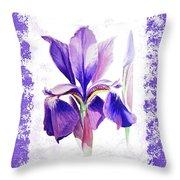 Watercolor Iris Painting Throw Pillow