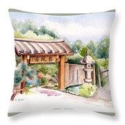 Watercolor Japanese Garden Gate Throw Pillow