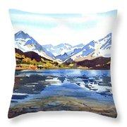 Watercolor Lake Reflection Throw Pillow