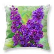 Watercolor Lilac Throw Pillow