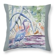 Watercolor - Little Blue Heron In Mangrove Forest Throw Pillow