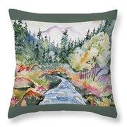 Watercolor - Long's Peak Autumn Landscape Throw Pillow
