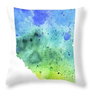 Watercolor Map Of Alberta, Canada In Blue And Green  Throw Pillow