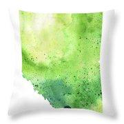 Watercolor Map Of Alberta, Canada In Green  Throw Pillow