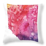 Watercolor Map Of Alberta, Canada In Orange, Red And Purple Throw Pillow