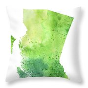 Watercolor Map Of British Columbia, Canada In Green  Throw Pillow