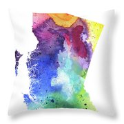 Watercolor Map Of British Columbia, Canada In Rainbow Colors  Throw Pillow