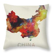 Watercolor Map Of China Throw Pillow