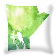Watercolor Map Of Manitoba, Canada In Green Throw Pillow