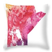 Watercolor Map Of Manitoba, Canada In Orange, Red And Purple  Throw Pillow