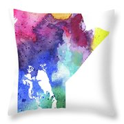Watercolor Map Of Manitoba, Canada In Rainbow Colors  Throw Pillow