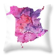 Watercolor Map Of New Brunswick, Canada In Pink And Purple  Throw Pillow