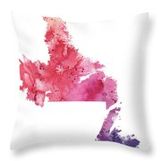 Watercolor Map Of Newfoundland And Labrador, Canada In Orange, Red And Purple  Throw Pillow
