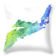 Watercolor Map Of Nova Scotia, Canada In Blue And Green  Throw Pillow