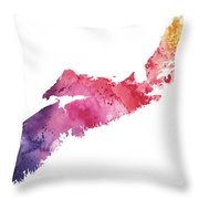Watercolor Map Of Nova Scotia, Canada In Orange, Red And Purple  Throw Pillow