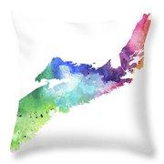 Watercolor Map Of Nova Scotia, Canada In Rainbow Colors  Throw Pillow