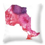 Watercolor Map Of Ontario, Canada In Orange, Red And Purple  Throw Pillow