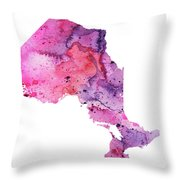 Watercolor Map Of Ontario, Canada In Pink And Purple  Throw Pillow