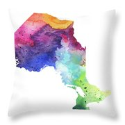 Watercolor Map Of Ontario, Canada In Rainbow Colors  Throw Pillow