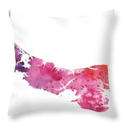 Watercolor Map Of Prince Edward Island, Canada In Orange, Red And Purple Throw Pillow