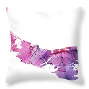 Watercolor Map Of Prince Edward Island, Canada In Pink And Purple  Throw Pillow