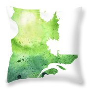 Watercolor Map Of Quebec, Canada In Green  Throw Pillow
