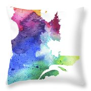 Watercolor Map Of Quebec, Canada In Rainbow Colors  Throw Pillow