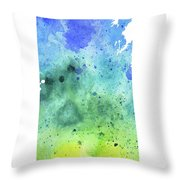 Watercolor Map Of Saskatchewan, Canada In Blue And Green  Throw Pillow