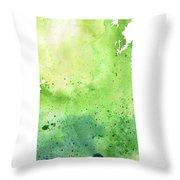 Watercolor Map Of Saskatchewan, Canada In Green Throw Pillow