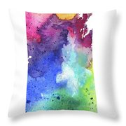 Watercolor Map Of Saskatchewan, Canada In Rainbow Colors  Throw Pillow