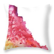 Watercolor Map Of Yukon, Canada In Orange, Red And Purple  Throw Pillow