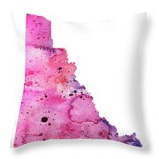 Watercolor Map Of Yukon, Canada In Pink And Purple  Throw Pillow
