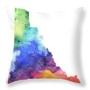 Watercolor Map Of Yukon, Canada In Rainbow Colors  Throw Pillow