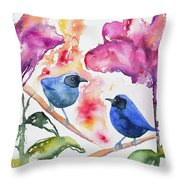 Watercolor - Masked Flowerpiercers With Flowers Throw Pillow