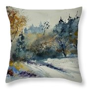 Watercolor Medieval Castle Of Veves  Throw Pillow