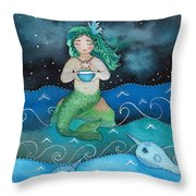 Watercolor Mermaid Feeding Her Narwhals Throw Pillow