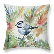 Watercolor - Mountain Chickadee And Pine Throw Pillow