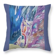 Watercolor - Mountain Goat With Young Throw Pillow