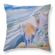 Watercolor - Mountain Goats On Quandary Throw Pillow