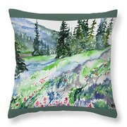 Watercolor - Mountain Pines And Indian Paintbrush Throw Pillow
